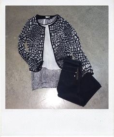 Patterned Joie jacket with Tibi top and Genetic black jeans.