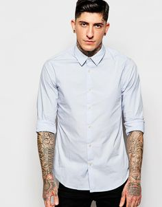"Shirt by Scotch & Soda Crisp cotton Contains stretch for comfort Point collar Button placket Regular fit - true to size Machine wash 97% Cotton, 3% Spandex Our model wears a size Medium and is 185.5cm/6'1"" tall"