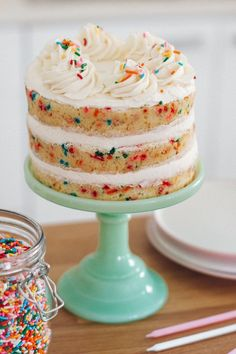 The best homemade funfetti cake recipe. Delicate, light, moist and loose with creamy vanilla buttercream frosting. The best homemade funfetti cake recipe. Delicate, light, moist and loose with creamy vanilla buttercream frosting. Best Cake Recipes, Cookie Recipes, Dessert Recipes, Easter Recipes, Party Desserts, Smash Cake Recipes, Cake Recipes For Kids, Healthy Recipes, Sweet Desserts