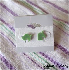 Animal Crossing leaf earings so cute