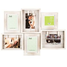 White Beadboard Collage Frame with Clips - 4