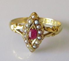 Victorian 18ct Yellow Gold Oval Ruby & Seed Pearl Oval Cluster