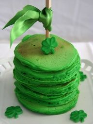 St Pats Day Pancakes  Need:  Favorite pancake batter, Green gel food coloring.  Add the green food coloring to the pancake batter. Cook as usual, stack em up and serve.   Tip: Pancakes can be made ahead of time, cooled, and then frozen.  Store in a ziploc freezer bag, divided by waxed paper.  When ready to use, pop in the microwave for 2 min,  serve.
