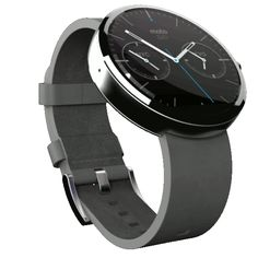 """••Moto 360•• 360° gif by Droid-Life.com - Leather • Android Wear SmartWatch 2014-06-4 •Apple event """"9.9.2014 Wish we could say more."""" New ••Apple WATCH!!"""" • some TOP DESIGNERS NOT IMPRESSED by non-distinctive design of SmartWatch • this is 1 of 1000s of entries at Moto 360 Design Face-Off! • BUT as always Apple competition is flummoxed! it's all hot air surface design, as the Human Droid's watch is glossy on surface but skin-deep – not as deeply sexy/mind-bending as Apple's…"""