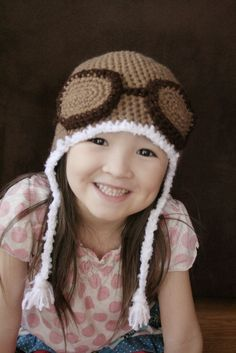 aviator crochet hat big kid size