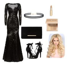 """""""Black"""" by s-o-polyvore ❤ liked on Polyvore featuring Jovani, Schutz, Dune, Bobbi Brown Cosmetics and LULUS"""