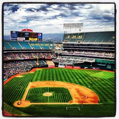 Nice day at the #Coliseum for today's game between the #Angels and A's in #Oakland. (By @bmangin / SI) #MLB
