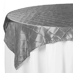 72 x 72 Silver Pintuck Table Overlay | www.SmartyHadAParty.com