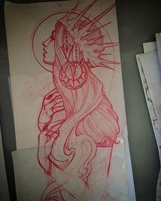 Sketch from awhile ago. Sketch from awhile ago. Dark Art Drawings, Tattoo Design Drawings, Tattoo Sketches, Art Sketches, Tattoo Designs, Tatuaje Art Nouveau, Hand Kunst, Kunst Tattoos, Pin Up Tattoos