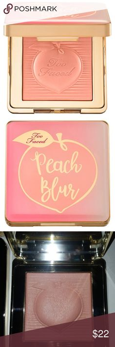 Too Faced Peach Blur Smoothing Finishing Powder Too Faced Peach Blur Translucent Smoothing Finishing Powder from the Peaches and Cream Collection.  Retails for $30 + Tax. Used only 1 time. Price Firm. This translucent, peach-colored powder contains optical correcting spheres to help smooth the appearance of lines, wrinkles, and other skin imperfections.  ✔ Blurs imperfections  ✔ Visibly brightens skin  ✔ Smells like peaches and cream  Too Faced Makeup Face Powder