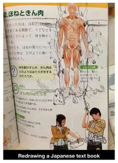 Hilarous artwork in a textbook -- {anime, manga, otaku, fangirl, anime lover, attack on titan, funny, parody, hilarious}