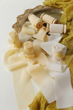 Mustard silk ribbons in 3 variations: mustard chiffon, mustard satin and yellow cream satin #silkribbon #mustardribbon #yellowribbon #creamribbon