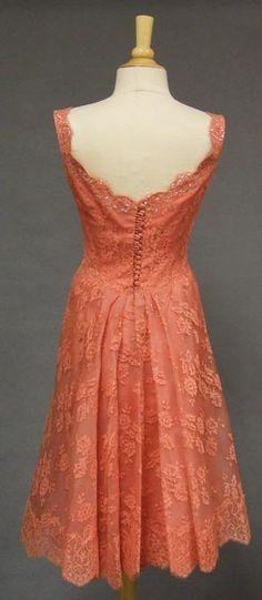 Salmon Lace Bombshell Cocktail Dress w/ Overskirt  , VINTAGEOUS.COM