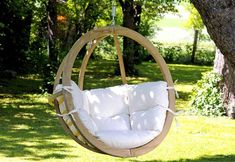 Globo Garden Hanging Chair in Natura Cream Indoor Outdoor, Outdoor Living, Outdoor Decor, Outdoor Swings, Porch Swings, Outdoor Rooms, Hanging Hammock Chair, Swinging Chair, Hanging Beds