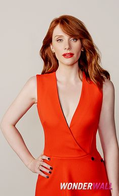 "Bryce Dallas Howard poses at the ""Jurassic World"" junket in Los Angeles."