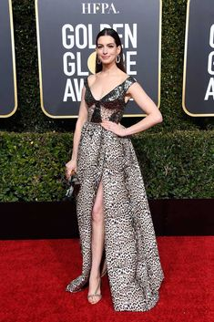 e285761bc921 Anne Hathaway In Elie Saab - 2019 Golden Globe Awards - Red Carpet Fashion  Awards