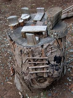 Like the ladder, inviting children to use the log for imaginative play.