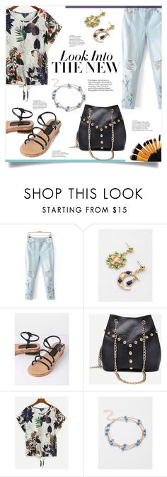 """""""Into The New"""" by mahafromkailash ❤ liked on Polyvore featuring WithChic, tropical, embroidered, springlook, rippeddenim and shein"""