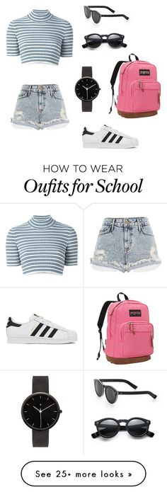 """""""School"""" by caramiasmom on Polyvore featuring Alessandra Rich, River Island, adidas, I Love Ugly, Illesteva and JanSport https://twitter.com/ShoesEgminfmn/status/895096695293329409"""