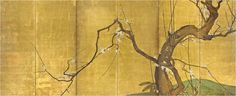 Kano School (17th Century): Blossoming Plum Large six panel screen, ink, color, and gold on paper; depicting the twisted trunk growing with bamboo sprays from a grassy slope at lower right, the sharply angled branches with their early blossoms silhouetted against a brilliant gold ground (restoration).