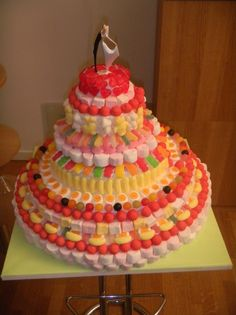 Tiered cake in candies