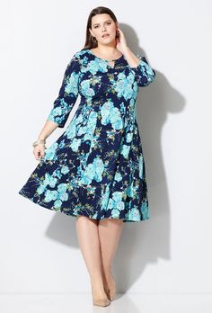 Navy Floral Fit and Flare Dress,