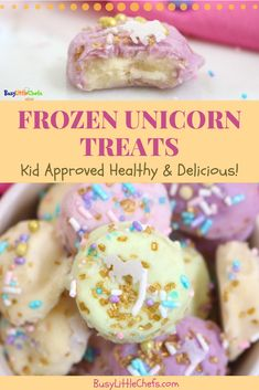 Healthy Snacks For Kids Healthy and easy to make Frozen Unicorn Treats are a great dessert, or snack idea for the kids. Using a simple mix of bananas, flavored Greek yogurt, and sprinkles on the top. Healthy Afterschool Snacks, Healthy Snacks For Kids, Easy Baking Recipes, Gourmet Recipes, Yummy Treats, Sweet Treats, Bite Size Snacks, Fruit Snacks, Baby Snacks