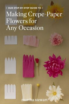 We share exactly how to make crepe-paper flowers made using crepe paper, floral tape, and thin wires for beautiful and real-looking tulips, roses, Dahlias, peonies, lilies, carnations, and other flowers for a handmade bouquet. #marthastewart #crafts #diyideas #easycrafts #tutorials #hobby
