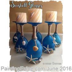 Beach Crafts – Page 2 Seashell Crafts, Beach Crafts, Diy Crafts, Glass Bottle Crafts, Bottle Art, Wine Glass Candle Holder, Wine Craft, Creation Deco, Painted Wine Glasses