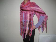 Nuno felted pink purple long shawl wrap scarf silk by feltinga, $34.90