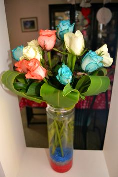 Dyed red, white and blue roses