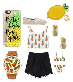 """Pineapples=LIFE"" by brookiea on Polyvore featuring A Classic Time Watch Co., Casetify, WithChic, Kate Spade, TOMS, Jewel Exclusive and Selini Action"