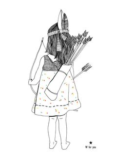Illustration for kids Little indian girl by Wforyou on Etsy, €12.00