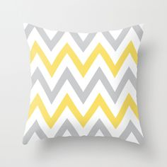 Gray & Yellow Chevron Throw Pillow by daniellebourland | Society6