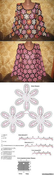 Crochet dress motif flower