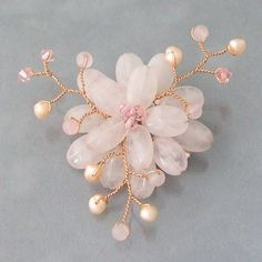 Rose Quartz and Natural Pearl Lotus Flower Brooch (3-5 mm)(Thailand)