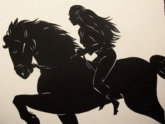 Girl Riding, cut paper silhouette by Tim Arnold
