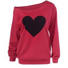 Heart Print Skew Collar Sweatshirt (50 BRL) ❤ liked on Polyvore featuring tops, hoodies, sweatshirts, red sweatshirt and red top