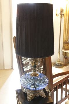Vintage table lamp blue glass base with new shade