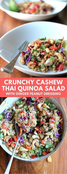 Salad is my go-to lunch choice so I knew this quinoa salad would hit the spot! I love that the recipe is filled with loads of healthy goodness: carrots cabbage quinoa cilantro cashews red pepper and onion. If you want to serve with a protein baked Whole Food Recipes, Cooking Recipes, Healthy Recipes, Thai Vegetarian Recipes, Quoina Recipes, Cashew Recipes, Slow Cooking, Cooking Tips, Thai Salads