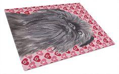 Brussels Griffon Valentine's Love Glass Cutting Board Large