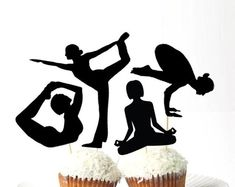 Solid YOGA Cupcake Toppers Set of 12 - Printed Plastic Mindfulness Party Decorations Namaste Party Birthday 21st Birthday Cake Toppers, Cupcake Toppers, Yoga Party, Baby Yoga, Sports Party, Namaste, Biodegradable Products, Mindfulness, Baby Shower