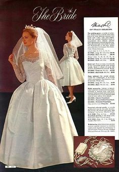 Vintage Fashion Vintage bride from a 1964 Montgomery Ward catalog - Vintage advertising -- found in my mother's basement, flea markets and various corners of the Internet -- dusted off and displayed for your viewing pleasure. 1960s Wedding Dresses, Wedding Bridesmaid Dresses, Bridal Dresses, Wedding Gowns, Vintage Outfits, Vintage Dresses, Vintage Fashion, Vintage Clothing, Vintage Wedding Photos