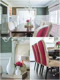 Evars + Anderson Interiors love the hot pink upholstery on the backs of the chairs.