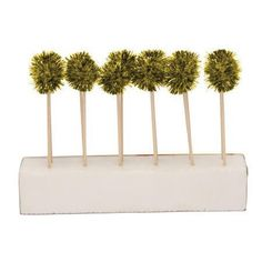 Glitter Glitz Gold Pom Pom Cocktail Picks $5.50 per package.