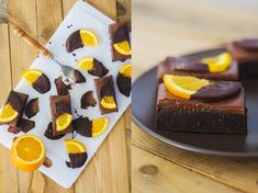 Orange brownie slice - this no-bake recipe looks crazy delicious! Dates, almond meal, coconut cream. Orange Recipes, Almond Recipes, Raw Food Recipes, Baking Recipes, Sweet Recipes, Dessert Recipes, Healthy Recipes, Orange Brownies, Blondie Brownies