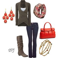 jean, coral, colors, sweater weather, fall outfits, accessories, fall styles, boots, bags