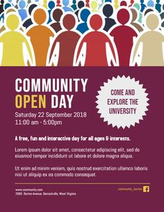 Community Open Day Event Poster Flyer Template Templates
