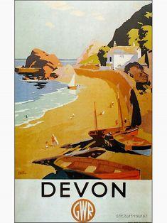 Great Western, Vintage Travel Posters, Art Deco Design, Poster Wall, Devon, Vintage Art, Retro, Prints, Painting