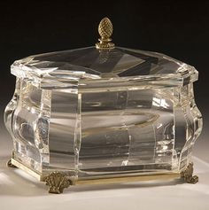 Crystal box and octagonal solid crystal box. Octagonal solid crystal box with solid crystal lid. Crystal box has an antique solid brass base and scrolled leaf feet Crystal Box, Crystal Stemware, Pretty Box, Venetian Glass, Cut Glass, Glass Art, Decorative Boxes, Decorative Crafts, Trinket Boxes